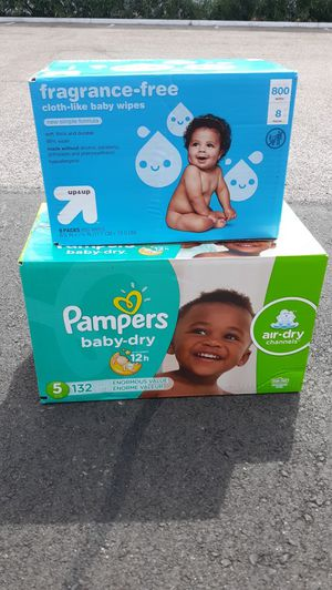 Pampers Diapers baby Dry size 5 (132 count) and baby Wipes (800 count) for Sale in Phoenix, AZ