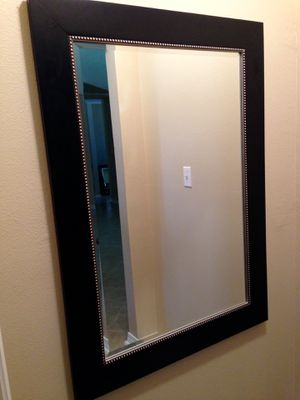 Large Modern Black Beveled Mirror (very good condition) for Sale in Gulf Breeze, FL
