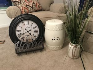 "Decor - faux plant, oversized wall clock, ""home"" wall wine and glass holder, ceramic cylinder for Sale in Arlington, VA"