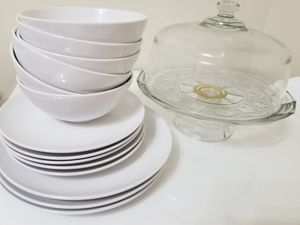 Ikea plates and bowls and cake display stand ALL FOR JUST $30 for Sale in Falls Church, VA