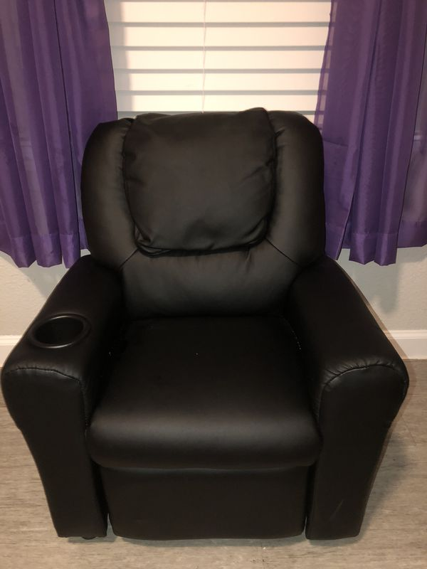 Black kids reclining leather chair