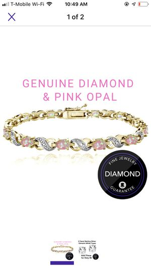 "925 Diamond accent 7.2 carat pink opal bracelet 7.5"" for Sale in Falls Church, VA"