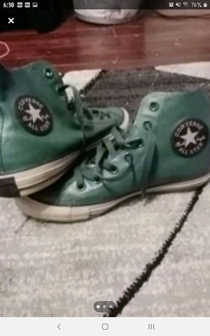 Womens size 7 green leather chucks, basically new. for Sale in Bensalem, PA