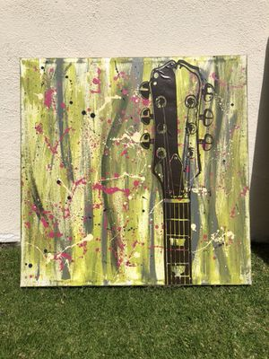 Guitar painting (mixed media) 3x3 feet for Sale in Santa Monica, CA