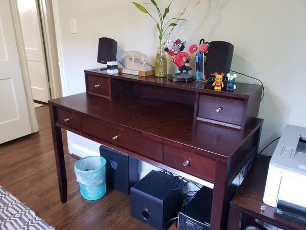 Desk with hutch and comfy office chair