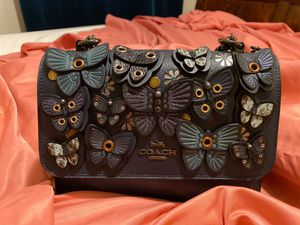 Coach (small) Gray, Blue, butterflies hand bag for Sale in Aurora, CO