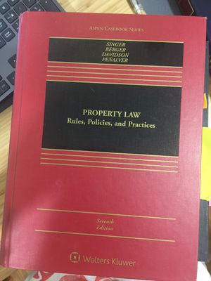 Property Law, Rules, Policies, and, Practices, 7th edition, Singer, Berger, Davidson, Penalver for Sale in Queens, NY