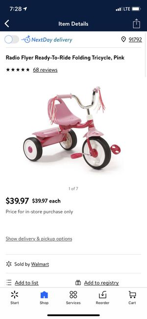 Toddler girl Radio flyer ready to ride folding tricycle pink for Sale in West Covina, CA