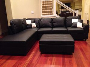 New black leather sectional sofa with storage ottoman and two free pillows! Deliver today for Sale in Portland, OR