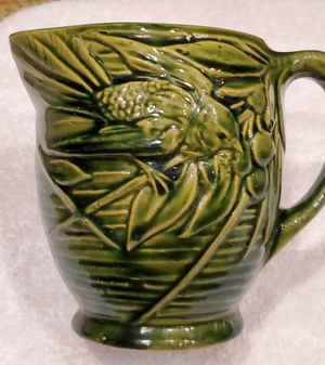 Art Pottery Mission Prairie Style Green Bird Floral Decor Vase Pitcher for Sale in Goodyear, AZ