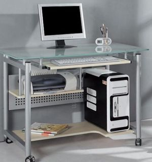 New!! Rolling Computer Desk, Glass and Silver-Colored Metal, rolling desk, computer station for Sale in Tempe, AZ
