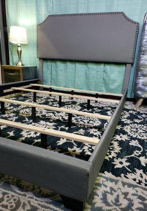 QUEEN upholstered bed frame come NEW IN BOX, mattress sold separately for Sale in West Palm Beach, FL