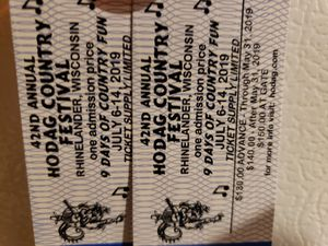 9 Day Hodag tickets x2 for Sale in Fremont, WI
