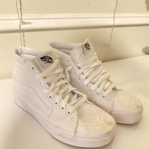 White High top Vans, Little Dirty But Easy To Clean Size 7 Womens for Sale in Miami, FL