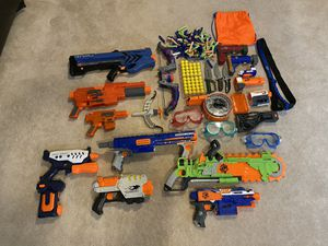 Nerf Guns Set, 10 Nerf Guns, 100+ Bullets 3 Goggles, 12 Accessories, $200 Value for Sale in Alexandria, VA