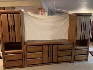 3-piece solid oak dresser and side cabinets. for Sale in Longview, WA