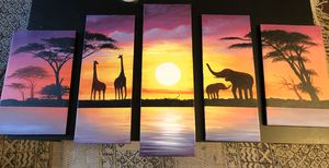 African Sunset Painting 5 Pieces for Sale in Miami, FL