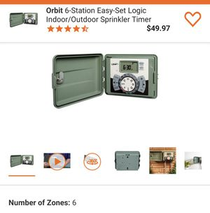 New Orbit 6-Station Easy-Set Logic Indoor/Outdoor Sprinkler Timer Retails $55 with Taxes!!! for Sale in Rialto, CA