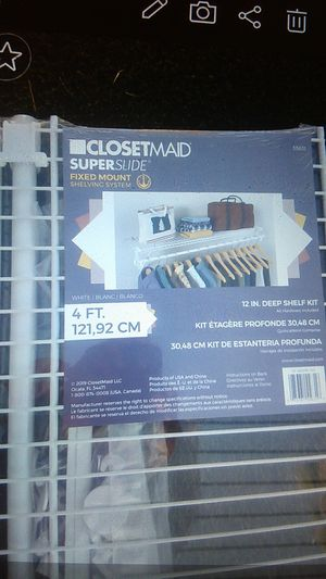 Closet maid super slide white shelves 4 ft. for Sale in Glendale, AZ