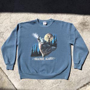 Vintage 90s Alaska Wolf Crewneck Sweater Chamarra for Sale in Orange, CA