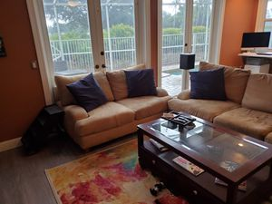 Kevin Charles three piece couch set light brown for Sale in West Palm Beach, FL