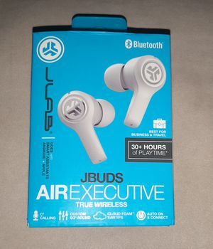 JLab Audio JBuds Air Executive True Wireless Bluetooth Earbuds + Charging Case - White for Sale in Westland, MI