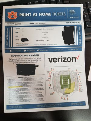 Have 1 ticket to the DEEP SOUTH RIVALRY.#10AUBURNvs#1UGA. for Sale in US