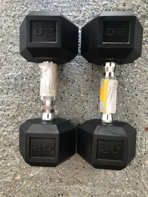 Cap 20 Lbs Pair of Rubberized Hex Dumbbells Weight 20 pounds for Sale in Lynn, MA