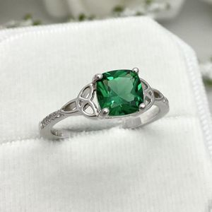 Cushion Cut Emerald CZ Sterling Silver Celtic Ring for Sale in Los Angeles, CA
