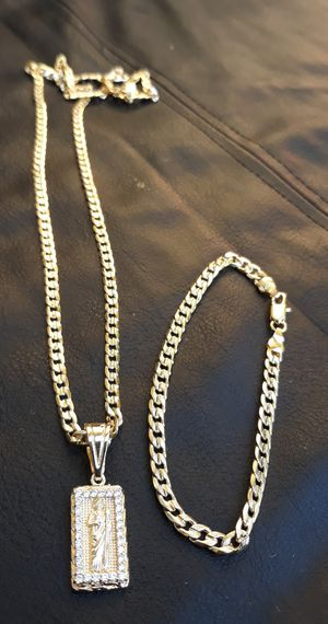 $100.....6mm.....🏌️🤳🏆🤩14k gold-filled cuban link diamond cut chain pendant and bracelet.... will not fade or tarnish.... I deliver 🚗💭💭 for Sale in Hollywood, FL