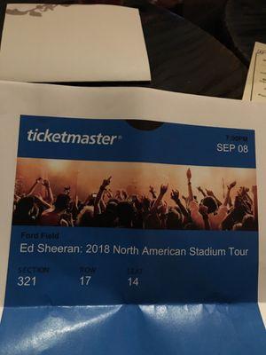Ed Sheeran Ticket - 1 for Sale in Detroit, MI
