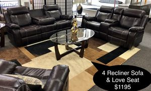 New Beautiful 4 Recliner Sofa and love seat for Sale in Fresno, CA