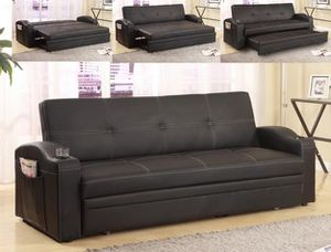 Futon Sofa Bed with Cup Holders BUY ONLINE SAME DAY DELIVERY! for Sale in Richmond, TX
