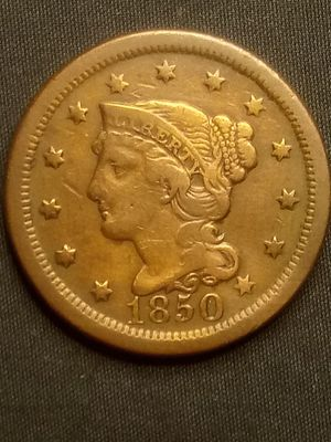 1850 BRAIDED HAIR LARGE CENT *BRILLIANT *ALMOST UNCIRCULATED *EXTRA FINE *OLD 🇺🇸 COPPER COIN for Sale in Santa Monica, CA