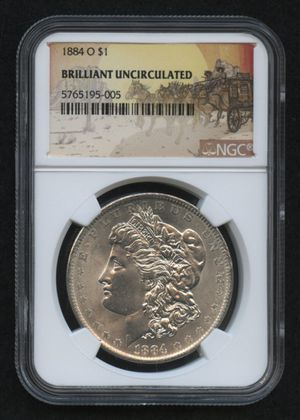 1884-O Morgan Silver Dollar - Stage Coach Label (NGC Brilliant Uncirculated) for Sale in Silver Spring, MD