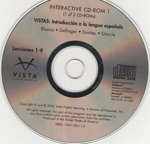 Vista Higher Learning Interactive CD-Rom 1 ~ Introduccion a la lengua espa ~ USA for Sale in Stockton, CA