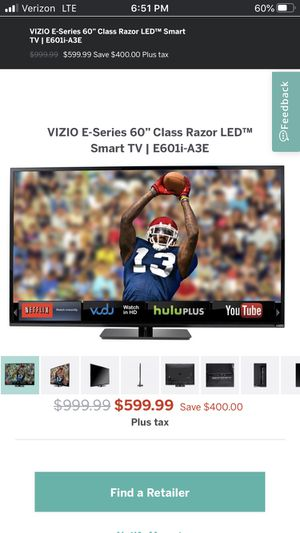 "Vizio 60"" Smart TV for Sale in Seattle, WA"