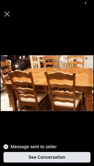 8 seat wooden table and matching chairs for Sale in St. Louis, MO