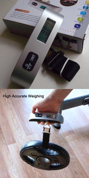 New in box $8 each Portable Travel 110lb / 50kg LCD Digital Hanging Luggage Scale Electronic Weight with battery for Sale in Whittier, CA