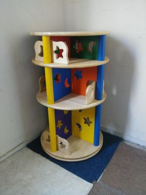 LARGE Solid Wood SPINNING Bookshelf for Sale in Fairfield, CA