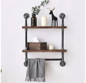 Industrial Pipe Shelf 2 Tier Wall Shelves With Towel Bar 24 in for Sale in Los Angeles, CA