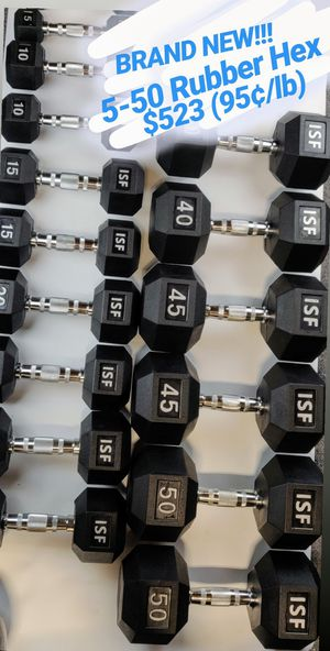 New 5-50 Dumbbells Rubber Hex Weights for Sale in Franklin Square, NY