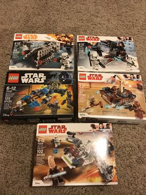 Sealed LEGO StarWars Battle pack collection Imperial Patrol Bounty Hunter Jedi Clone Trooper First Order Tatooine for Sale in Stafford, TX