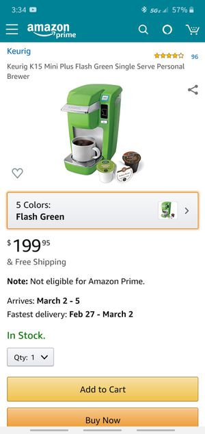 Keurig K10/K15 mini plus flash green single serve personal brewer coffee tea maker machine hot water. for Sale in Tijuana, MX