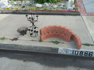Curb Alert - wrought iron candle holders gardening bricks. for Sale in Fountain Valley, CA