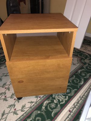 Wood File cabinet on wheels for Sale in NO POTOMAC, MD