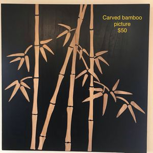 Large wood carved bamboo picture 38x38 for Sale in Waimea, HI
