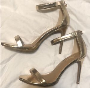 "Lulus gold ankle strap 4"" heels for Sale in Harrison, NJ"
