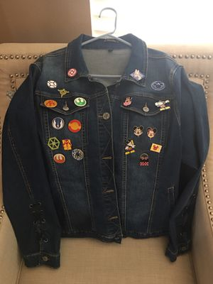 Denim Jacket With 20 Disney Trading Pins for Sale in Murrieta, CA