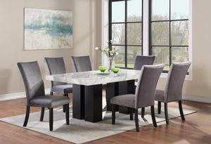 Dining table marble top with 6 velvet chairs for Sale in Dallas, TX